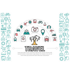 travel line icons template vector image