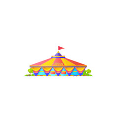 traveling circus shapito isolated red striped tent vector image