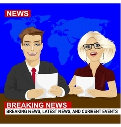 TV news anchors reporting breaking news vector