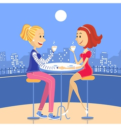 Two lesbian lovers in a cafe vector