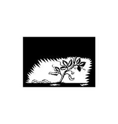 Vine Leaves Morphing Maggots Woodcut vector