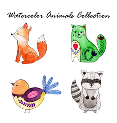 Watercolor cartoon collection vector