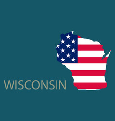 Wisconsin state of america with map flag print vector