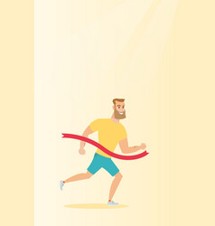Young caucasian sportsman crossing finish line vector