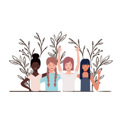 Young women with landscape background vector