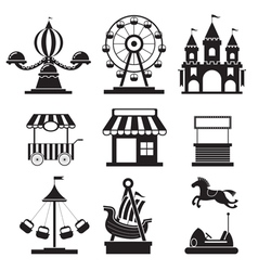 Amusement Park Objects Icons Mono Set vector image vector image