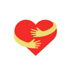 hugging heart symbol hug yourself logo love vector image