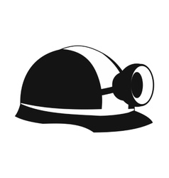 Miners helmet with lamp icon vector image vector image