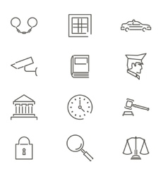 Modern Line Law Legal Justice Icons and Symbols vector image vector image