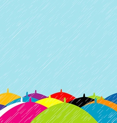 Summer rain with colored umbrellas background vector image vector image