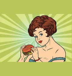 beautiful sexy woman and burger vector image