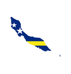 curacao map and flag vector image