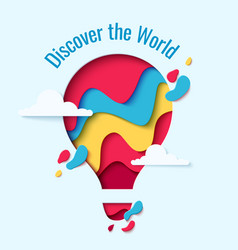 discover the world paper hot air balloon concept vector image vector image