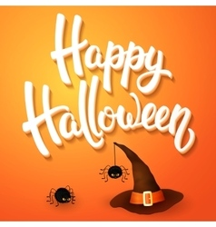 Halloween greeting card with hat angry spiders vector image vector image