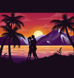 kissing couple silhouette vector image