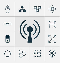 robotics icons set collection of mechanism parts vector image vector image