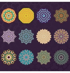 Set of Twelve Round Geometric Mandala kaleidoscope vector image