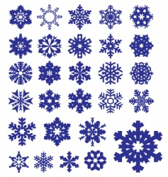 snowflakes silhouettes collection vector image