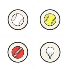 Sport games balls color icons set vector image