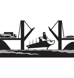 Merchant ship passes under a drawbridge vector