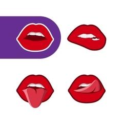 pop art woman lips icon set vector image