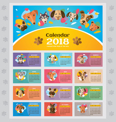 2018 year calendar with stylized dogs vector image