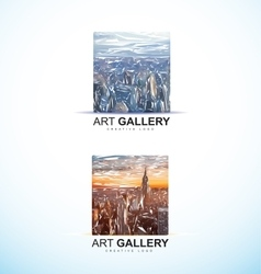 Art gallery painting logo abstract vector image vector image