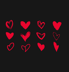 collection of doodle hearts on a black background vector image