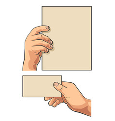 male hand holding blank paper business card vector image