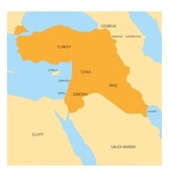 Map of Middle East region vector image vector image