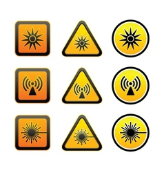 Set hazard warning symbols vector image