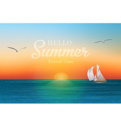 Sunrise in the sea with a sailboat and seagulls vector image