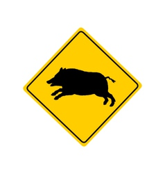 Wild boar warning sign vector