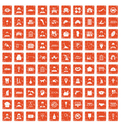 100 favorite work icons set grunge orange vector image