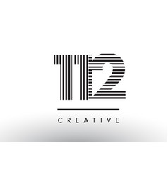 112 black and white lines number logo design vector image