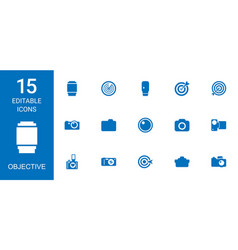 15 objective icons vector