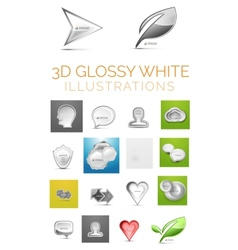 3d glossy white vector