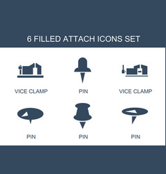 6 attach icons vector