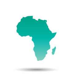africa map colorful turquoise on white isolated vector image