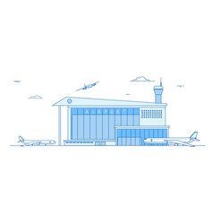airport buildings landing airplanes international vector image