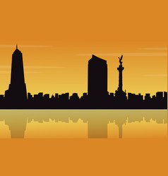 at sunset mexico city landscape silhouettes vector image vector image