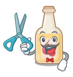 Barber cartoon apple cider in a glass vector