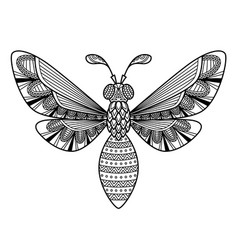 Bee antistress doodle coloring book page vector