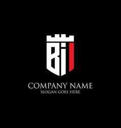 Bi initial shield logo design inspiration crown vector