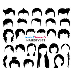 big black hair silhouettes collection vector image