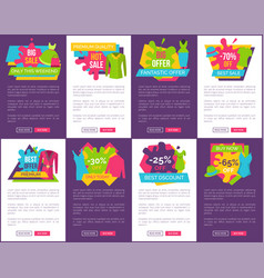 Big bundle of promo web posters with clothing vector