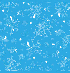 blue pattern with rose plant and animals vector image