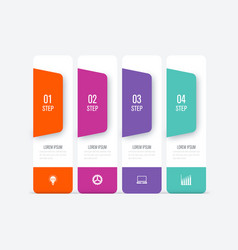 business infographics template 4 steps with square vector image