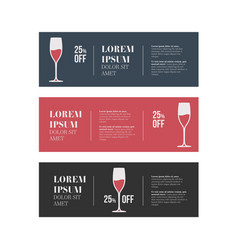 cafe banners set with wine glass vector image