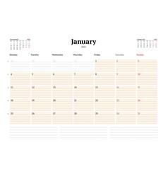 Calendar template for january 2021 business vector